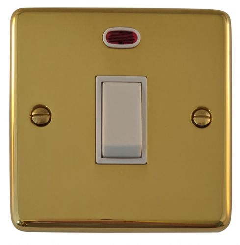G&H CB26W Standard Plate Polished Brass 1 Gang 20 Amp Double Pole Switch & Neon
